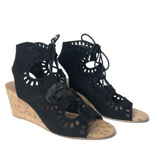 Dolce Vita Black Suede Lace-Up Wedge Sandals